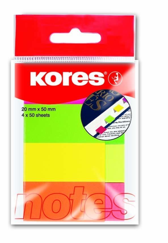 Papírové neonové záložky 20x50 mm / 4 barvy / 50 lístků každá barva