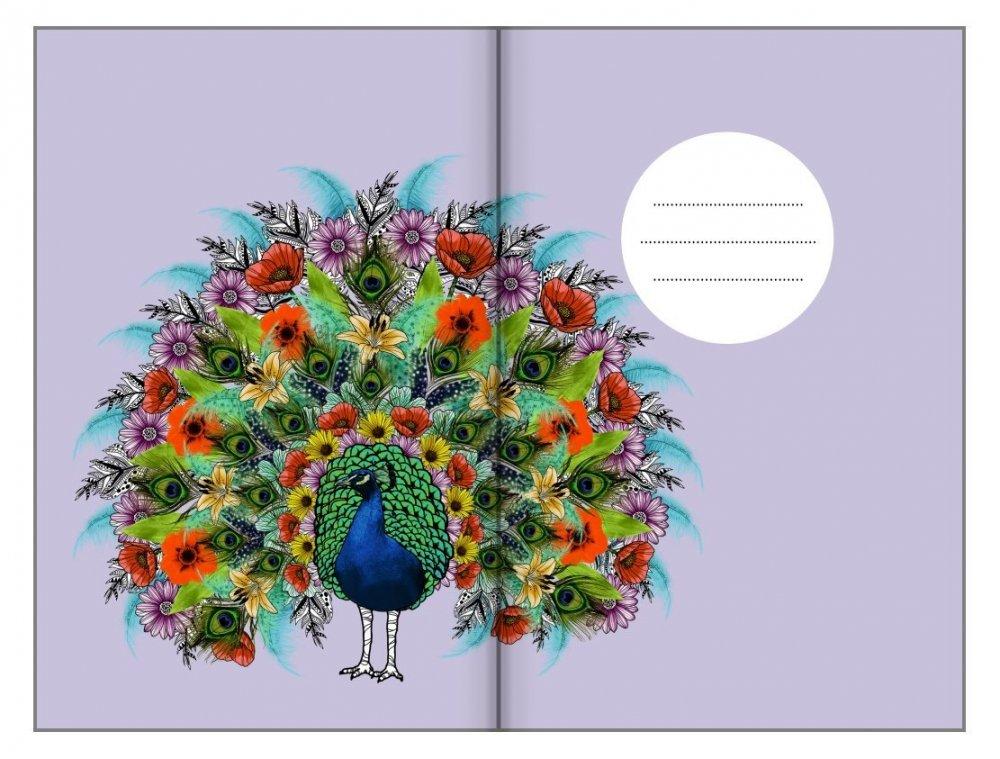 Bodkovaný zápisník, páv, 100 x 140 mm
