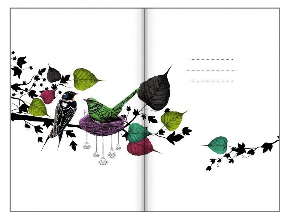 Bodkovaný zápisník, spievajúci strom, 100 x 140 mm