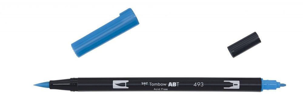 Obojstranná fixka s dvoma hrotmi DUAL BRUSH PEN, reflex blue