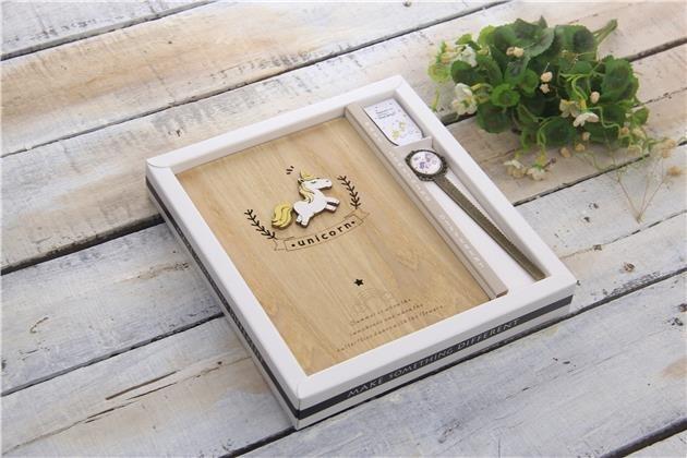 Dřevěný notes, 130x185mm, 128 listů, jednorožec