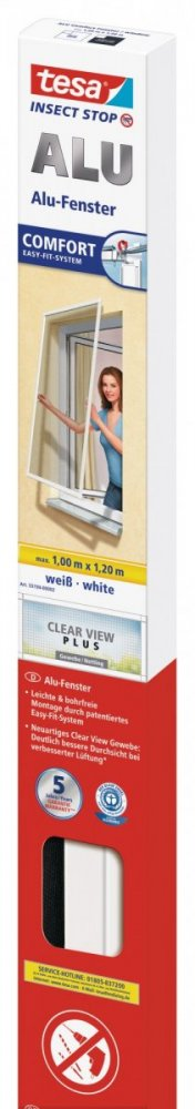Hliníkový rám se sítí proti hmyzu do okna, bílý, antracitová síť, 1m x 1,2m