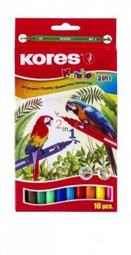 Dětské fixy Korello, 2v1 ( tenký a silný hrot), 10 barev