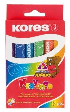 Voskové pastelky Krayones – trojhranné JUMBO, 12 farieb