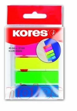 Neonové záložky Index Strips 45x12 mm / 5 barev / 25 lístků každá barva