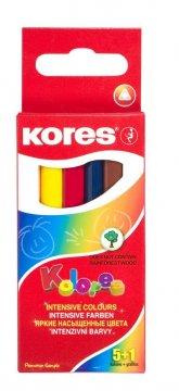 Trojhranné pastelky MINI SET 5+1, 3 mm / 5 farieb + 1x obyčajná ceruzka