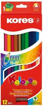 Trojhranné obojstranné pastelky 3 mm, so strúhadlom / 12 farieb / + 2 metal. farby