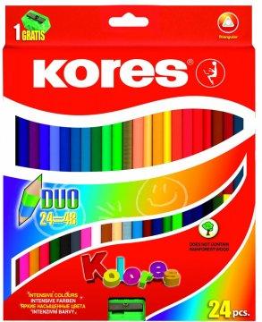 Trojhranné obojstranné pastelky 3 mm, so strúhadlom / 24 farieb / + 2 metal. Farby