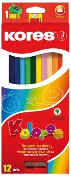Trojhranné pastelky, 3 mm, so strúhadlom / 12 farieb