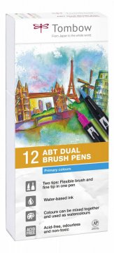 Sada obojstranných fixiek ABT DUAL BRUSH PEN – Primary colours, 12 ks