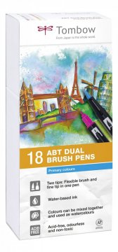 Sada obojstranných fixiek ABT DUAL BRUSH PEN – Primary colours, 18 ks