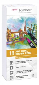 Sada obojstranných fixiek ABT DUAL BRUSH PEN – Secundary colors, 18 ks