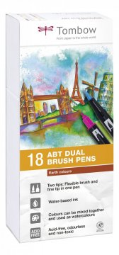 Sada obojstranných fixiek ABT DUAL BRUSH PEN – Earth colours, 18 ks
