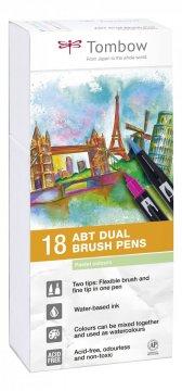 Tombow Sada obojstranných fixiek ABT DUAL BRUSH PEN – Pastels, 18 ks