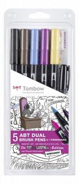 Tombow Sada obojstranných fixiek ABT DUAL  BRUSH PENS – špeciálna komiksová edícia, 5 ks + 1 ks Fudenosuke