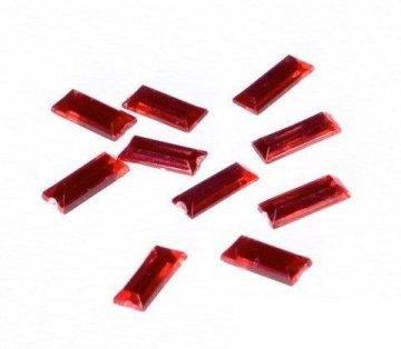 Dekorační diamanty – obdélníčky – červená 10ks