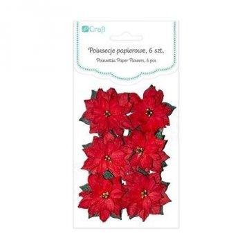 Papírové květy – vánoční hvězda, 6 ks
