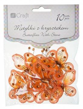 Motýlci s krystalky – oranžová 10ks