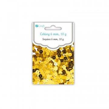 Flitry kulaté, ploché 6mm, zlaté,10g