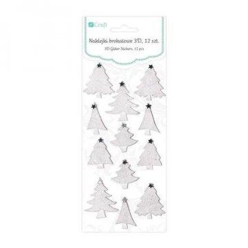Brokátové 3D samolepky – vánoční stromeček, 12 ks, bílé