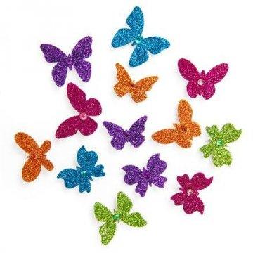 Brokátové 3D samolepky – motýlci, 13 ks