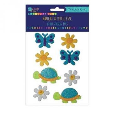 Filcové 3D samolepky – želvy, květy a motýli, 8 ks