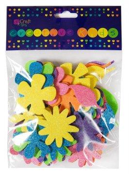 Pěnové samolepky brokátové – květy 72ks