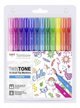 Popisovač TwinTone, 12 ks, farby dúhy