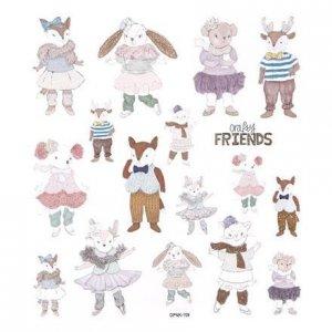 Brokátové samolepky – CRAFTY FRIENDS, 17 ks