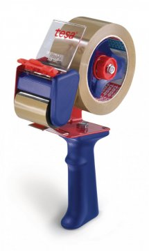 Ruční odvíječ balící pásky, červeno-modrý, pro rozměr 66m x 50mm