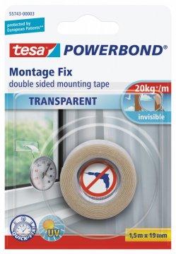 Montážní oboustranná pěnová páska na sklo, průhledná, 1,5m x 19mm