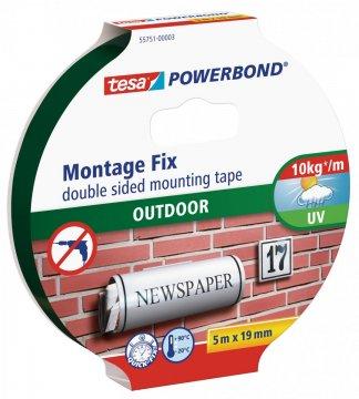 Montážní oboustranná pěnová páska pro exteriér, bílá, 5m x 19mm