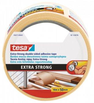 Oboustranná kobercová páska, extra silně lepící, bílá, 10m x 50mm