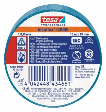 Elektroizolační PVC páska, splňuje normu IEC, modrá, 10m x 15 mm