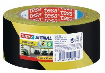 Vyznačovací páska PP pro dočasné značení, žluto-černé šrafování, 66m x 50mm