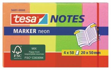 Záložky / Poznámkové bločky NEON, 4x 50ks, 20mm x 50mm